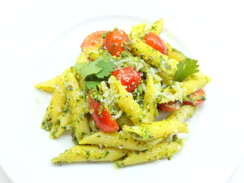 Smoky Cilantro Pesto with Penne and Cherry Tomatoes